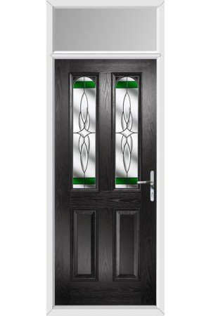 The Aylesbury Black Composite Door with Green Crystal Harmony and Toplight