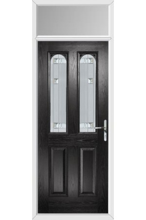 The Aylesbury Black Composite Door with Milan Glazing and Toplight