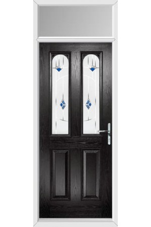 The Aylesbury Black Composite Door with Blue Murano and Toplight