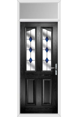 The Berkshire Black Composite Door with Blue Diamonds and Toplight