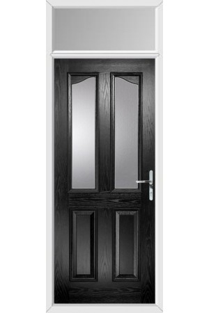 The Berkshire Black Composite Door with Clear Glazing and Toplight