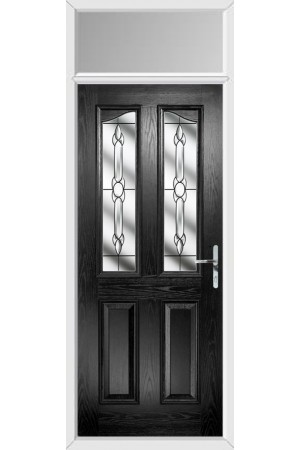 The Berkshire Black Composite Door with Crystal Bohemia and Toplight