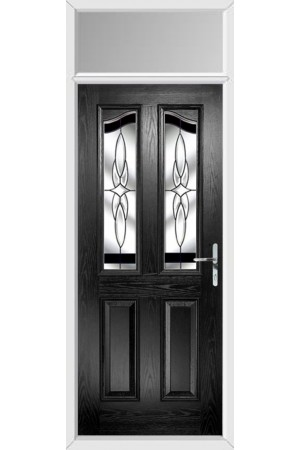 The Berkshire Black Composite Door with Black Crystal Harmony and Toplight