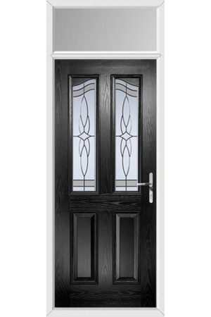 The Berkshire Black Composite Door with Crystal Harmony Frost and Toplight