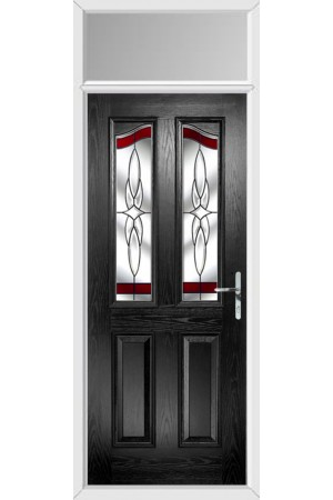 The Berkshire Black Composite Door with Red Crystal Harmony and Toplight