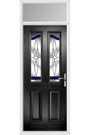 The Berkshire Black Composite Door with Blue Crystal Harmony and Toplight