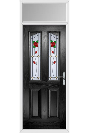 The Berkshire Black Composite Door with English Rose and Toplight