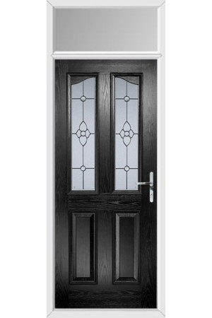 The Berkshire Black Composite Door with Finesse Glazing and Toplight