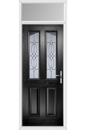 The Berkshire Black Composite Door with Flair Glazing and Toplight