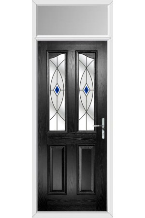 The Berkshire Black Composite Door with Blue Fusion Ellipse and Toplight