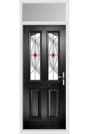 The Berkshire Black Composite Door with Red Fusion Ellipse and Toplight