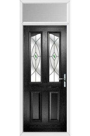 The Berkshire Black Composite Door with Green Fusion Ellipse and Toplight