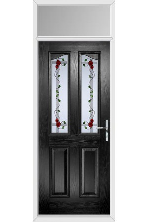 The Berkshire Black Composite Door with Mackintosh Rose and Toplight