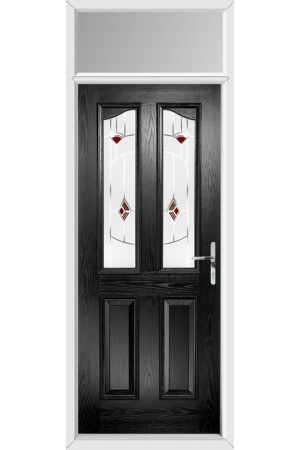 The Berkshire Black Composite Door with Red Murano and Toplight