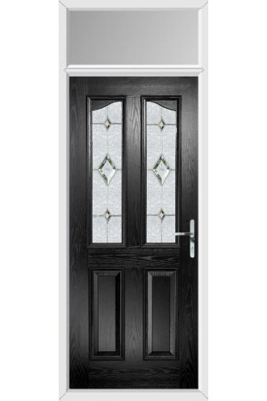 The Berkshire Black Composite Door with Crystal Diamond and Toplight