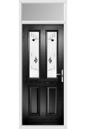 The Cheshire Black Composite Door with Black Murano and Toplight