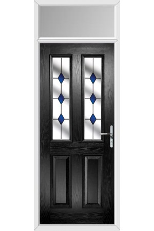The Cheshire Black Composite Door with Blue Diamonds and Toplight