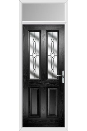 The Cheshire Black Composite Door with Crystal Bohemia and Toplight