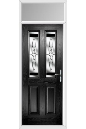 The Cheshire Black Composite Door with Black Crystal Harmony and Toplight