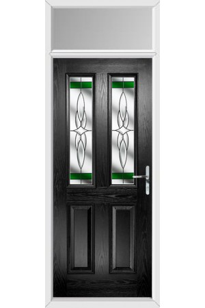 The Cheshire Black Composite Door with Green Crystal Harmony and Toplight