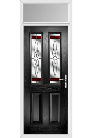 The Cheshire Black Composite Door with Red Crystal Harmony and Toplight