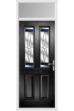 The Cheshire Black Composite Door with Blue Crystal Harmony and Toplight