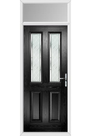 The Cheshire Black Composite Door with Diamond Cut and Toplight