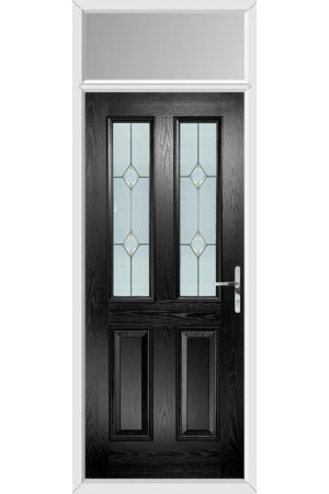 The Cheshire Black Composite Door with Classic Glazing and Toplight