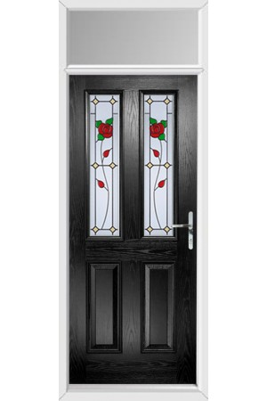 The Cheshire Black Composite Door with English Rose and Toplight