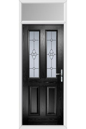 The Cheshire Black Composite Door with Finesse Glazing and Toplight