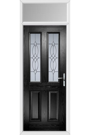 The Cheshire Black Composite Door with Flair Glazing and Toplight