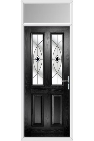 The Cheshire Black Composite Door with Black Fusion Ellipse and Toplight