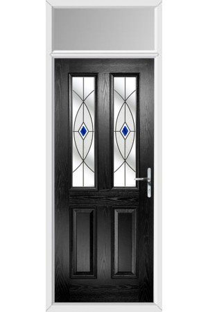 The Cheshire Black Composite Door with Blue Fusion Ellipse and Toplight