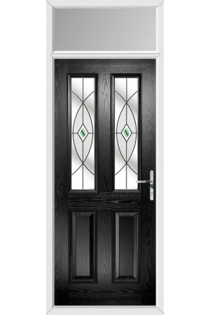 The Cheshire Black Composite Door with Green Fusion Ellipse and Toplight