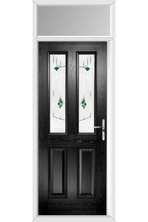 The Cheshire Black Composite Door with Green Murano and Toplight