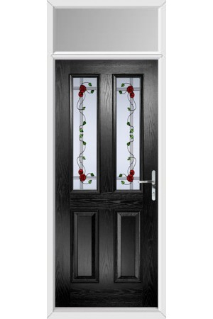 The Cheshire Black Composite Door with Mackintosh Rose and Toplight
