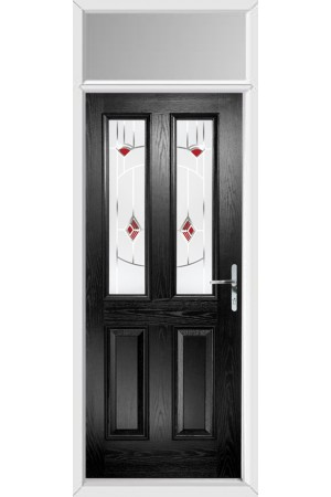 The Cheshire Black Composite Door with Red Murano and Toplight