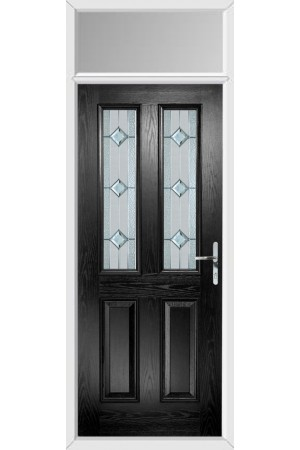 The Cheshire Black Composite Door with Simplicity and Toplight