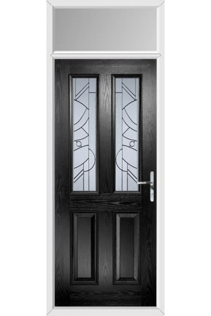 The Cheshire Black Composite Door with Zinc Art Abstract and Toplight