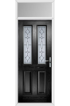 The Cheshire Black Composite Door with Zinc Art Clarity and Toplight