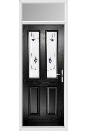 The Cheshire Black Composite Door with Blue Murano and Toplight
