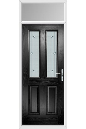 The Cheshire Black Composite Door with Jewel Glazing and Toplight