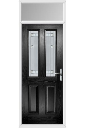 The Cheshire Black Composite Door with Milan Glazing and Toplight