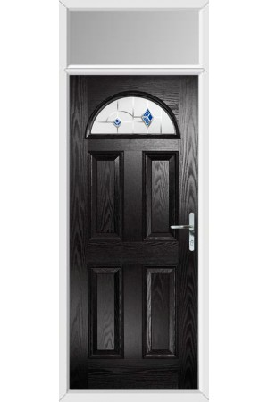 The Durham Black Composite Door with Blue Murano and Toplight
