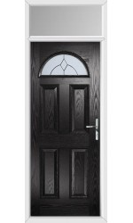 The Durham Black Composite Door with Classic Glazing and Toplight