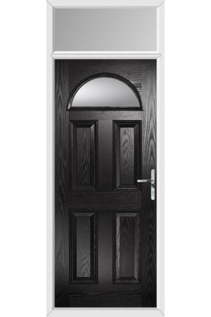 The Durham Black Composite Door with Clear Glazing and Toplight