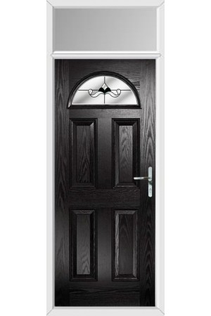 The Durham Black Composite Door with Black Crystal Bohemia and Toplight