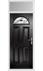 The Durham Black Composite Door with Blue Crystal Bohemia and Toplight