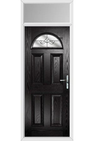 The Durham Black Composite Door with Clear Crystal Bohemia and Toplight