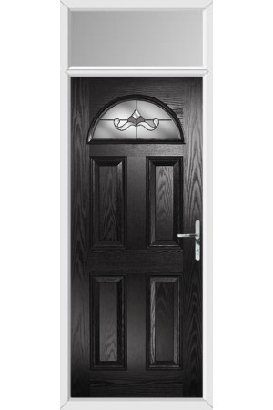 The Durham Black Composite Door with Crystal Bohemia Frost and Toplight